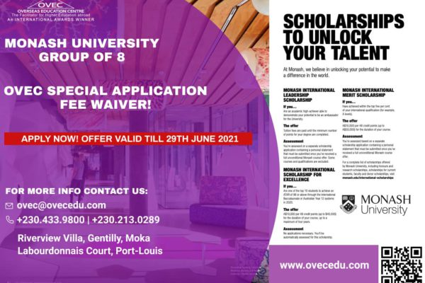 Monash University application fee waiver and scholarship