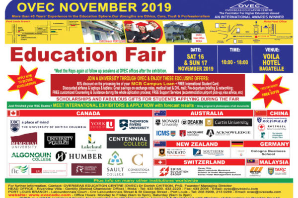 Upcoming OVEC Education Fair – Saturday 16th and Sunday 17th November 2019 — DO NOT MISS OUT!
