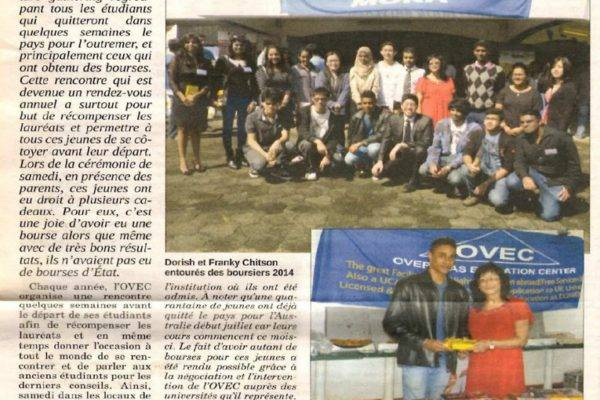 TERTIARY EDUCATION: Pre-departure gathering – 40 students received scholarships – Le Mauricien – 30 July 2014