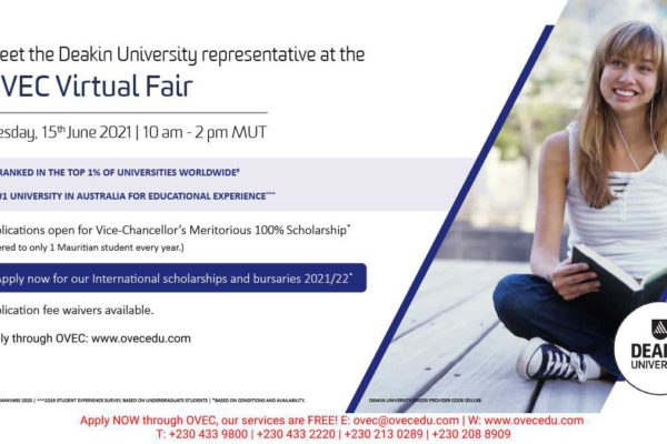 Deakin University at the June 2021 OVEC Virtual Fair – application fee waiver and Scholarships