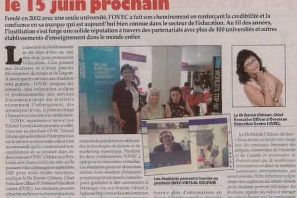 OVEC Virtual Fair June 15th 2021 in the news – Le Defi Media!