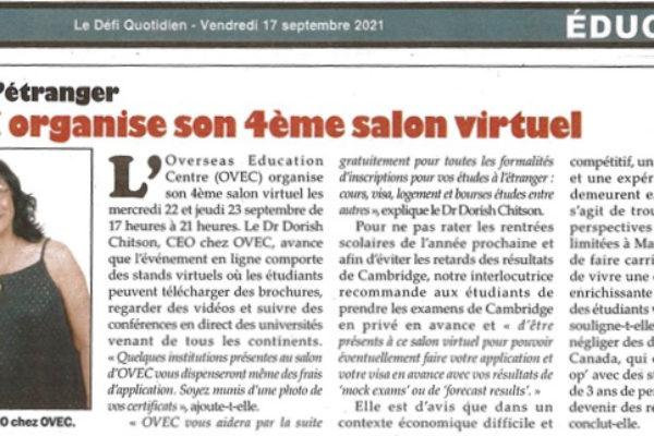 OVEC in the news – L'OVEC organise son 4eme salon virtuel