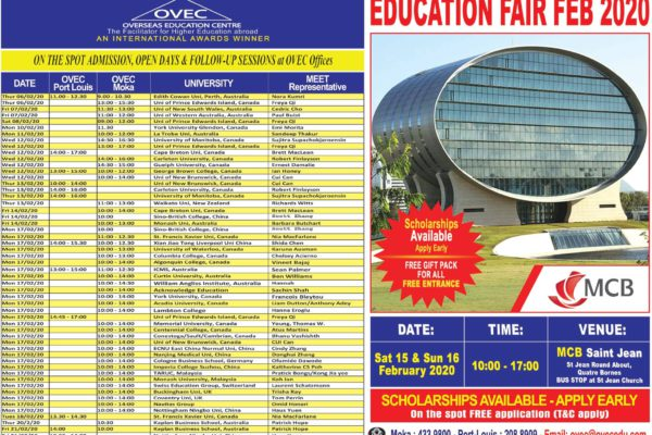 On the spot admissions, open days and follow-up sessions at OVEC offices Feb 2020