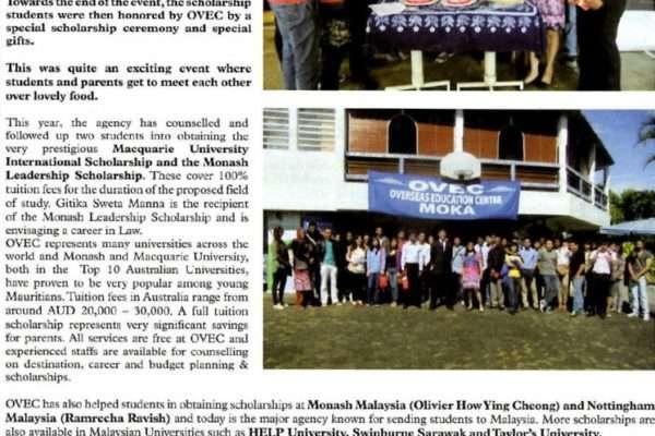 OVEC students awarded FULL SCHOLARSHIPS at prestigious universities – Weekly Magazine – 1 Aug 2013