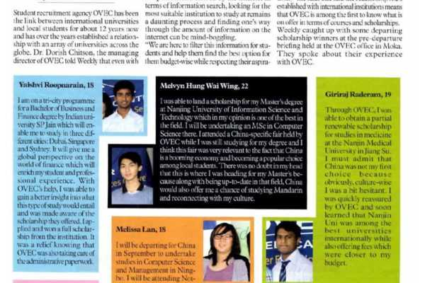 OVEC honours scholarship winners at pre-departure meet – Weekly Magazine – 25 July 2013