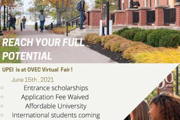 UPEI is at the June 2021 OVEC Virtual Fair – application fee waived and scholarships